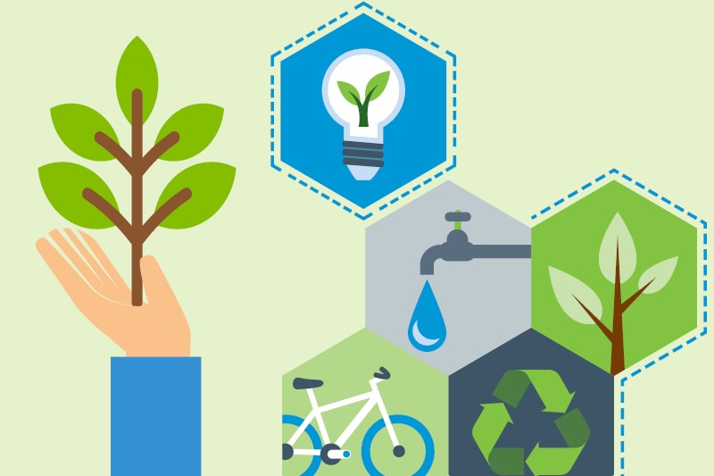 A graphic design displaying a light bulb, a tap, a shoot, a bike and the recycling symbol to indicate energy-saving