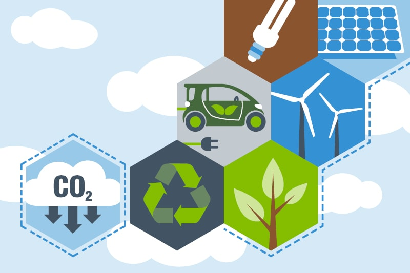 A graphic design displaying the CO2 symbol, the recycling symbol, a shoot, wind turbines, and electric car, solar panels and a low-energy lightbulb to indicate carbon reduction