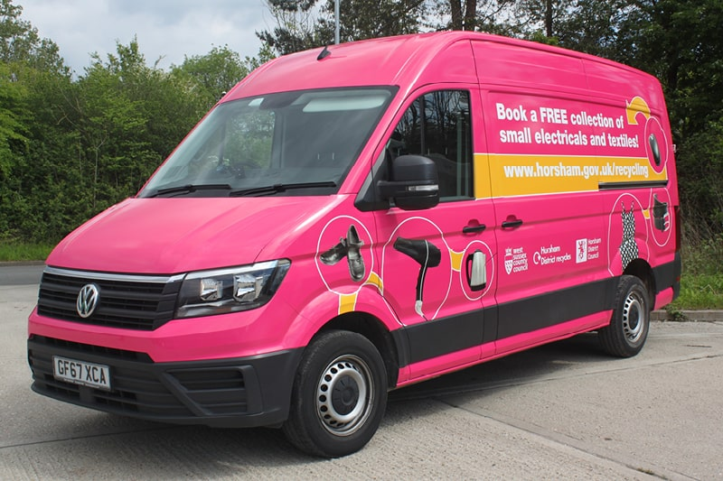 Our textiles and electricals are collected in our bright pink van