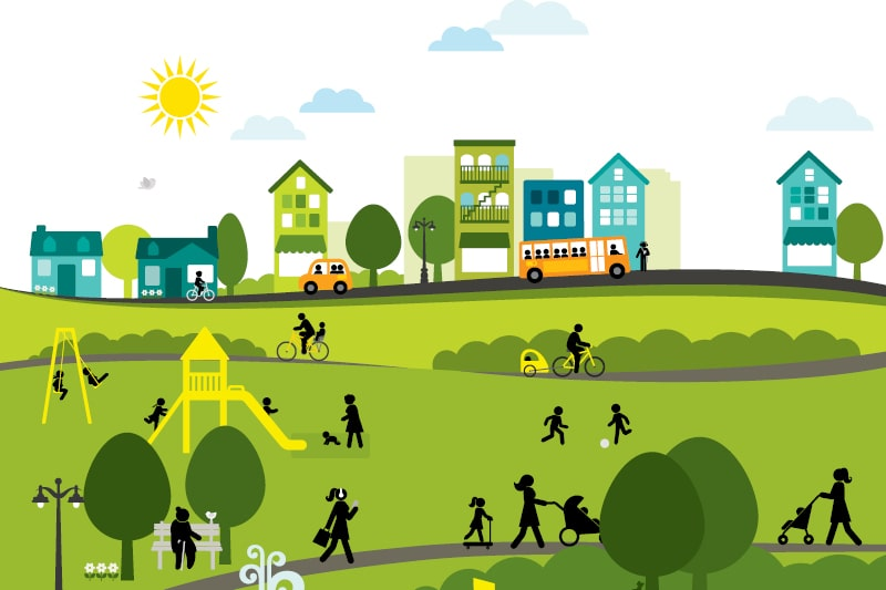 A graphic design of a community enjoying a sunny day. A play park, open spaces, low-rise buildings and a bus can be seen in the shot