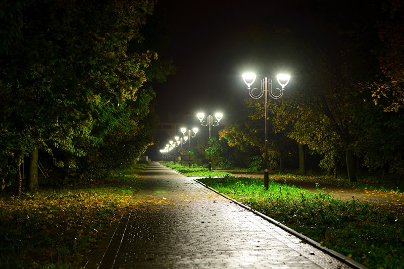 A well-lit path in a park on a dark night