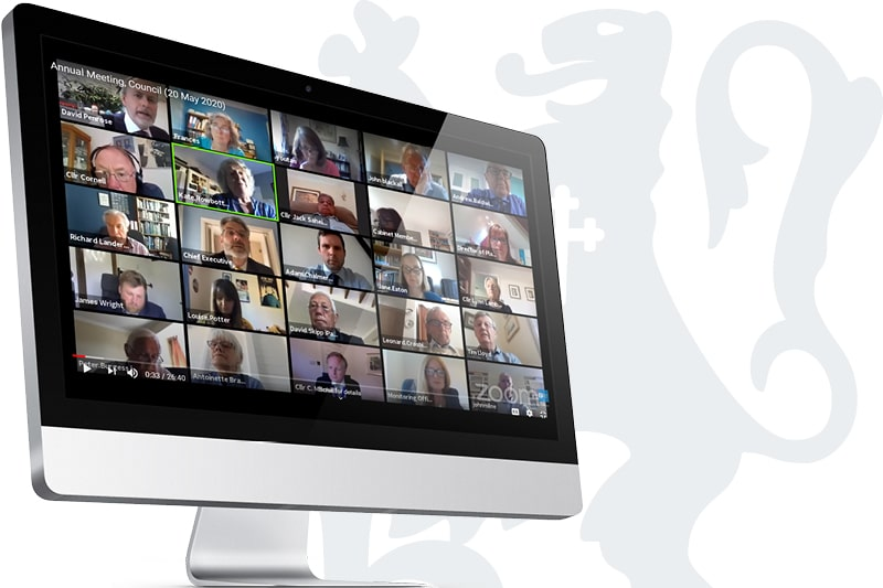 A public meeting takes place online using video-conferencing