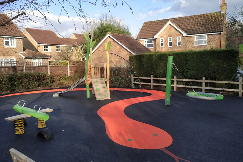A refreshed play area with updated equipment