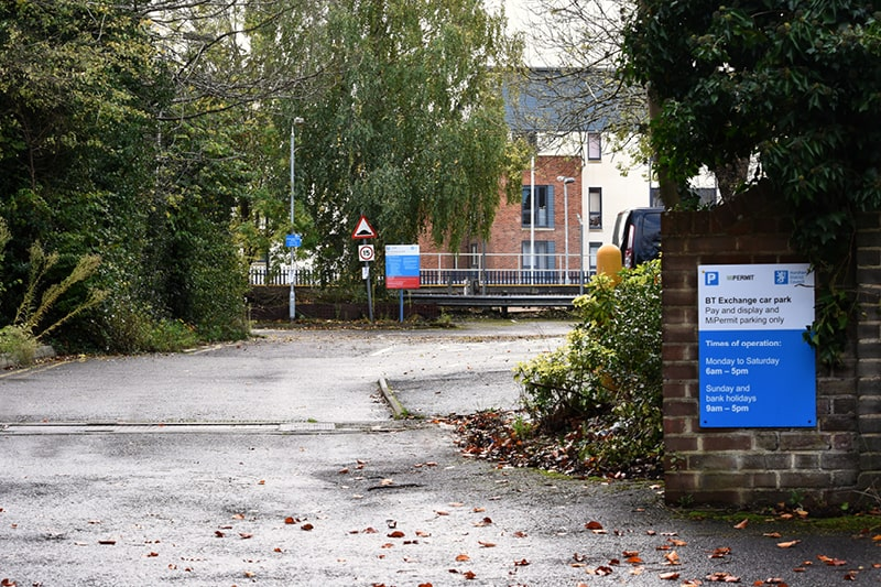 BT Exchange car park entrance on North Street Horsham