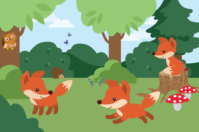 A cartoon of the design inspiration for the Foxes and forests play area