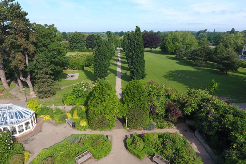 An aerial shot of Horsham Park