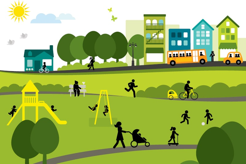 A graphic of a community enjoying parks and open spaces. A bus travels down a road in the background