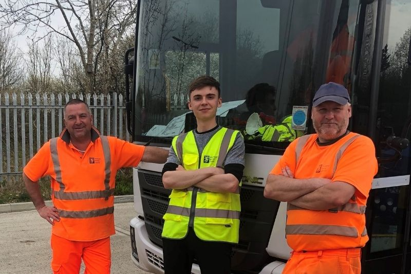 Digital marketing officer George (centre) redeployed to work on waste collection