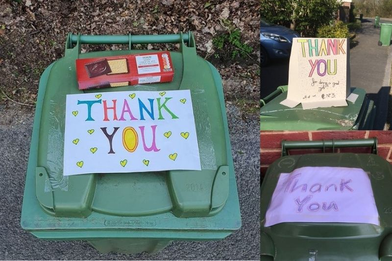A selection of thank you posters, drawn by children and taped to their bins