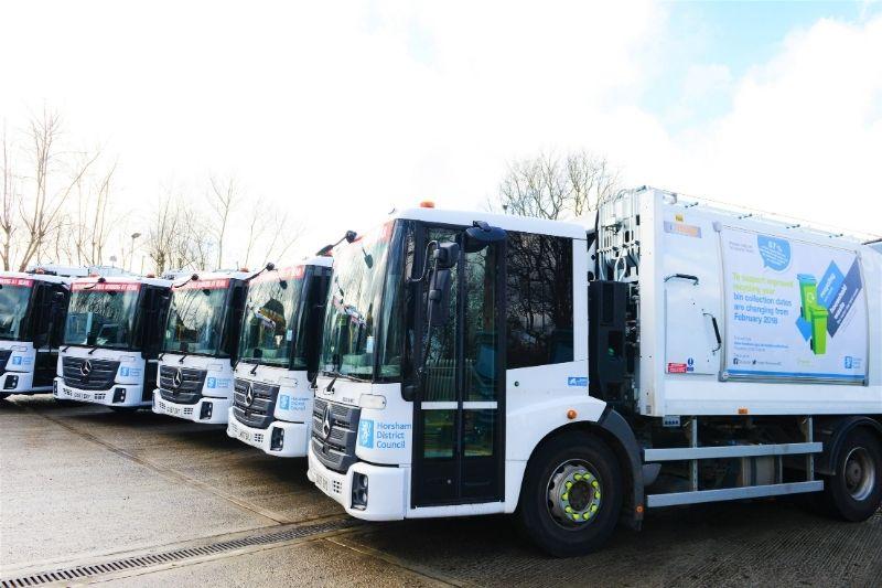 The fleet of Horsham District Council bin trucks